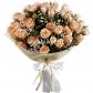Роза кустовая 50см - 7, Гипсофила, Фетр, Лента